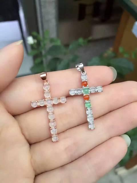 Colgante de jade blanco Natural s925 Natural Colgante de piedras preciosas Collar de moda Elegante de Lujo cruz mujeres de partido de la muchacha de la joyería