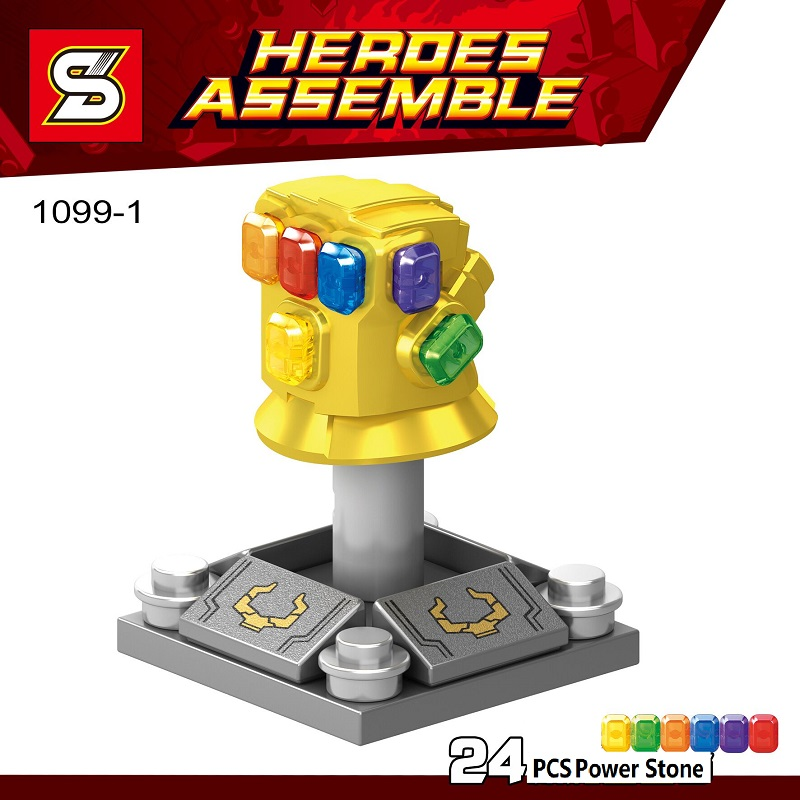 Single Sale Super Heroes Infinity Gauntlet With 24pcs Power Stones Thanos Gloves Building Blocks Children Gift Toys SY1099-1