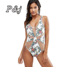 Фотография P&j low cut plunging v-neck Blended Floral Bikini Monokini Set Push-up Swimsuit Fancy Women One Piece Swimsuit Push Up Padded