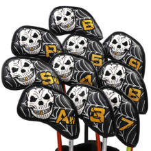 Buy CHAMPKEY NEW Original Design Skull Golf Iron Headcover 10 PCS/SET High Quality Pu Leather Golf Head Cover directly from merchant!