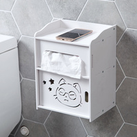 Toilet Paper Holder Box,Wall Mounted Bathroom Paper Holder,Self Adhesive Tissue Box with Shelves Storage