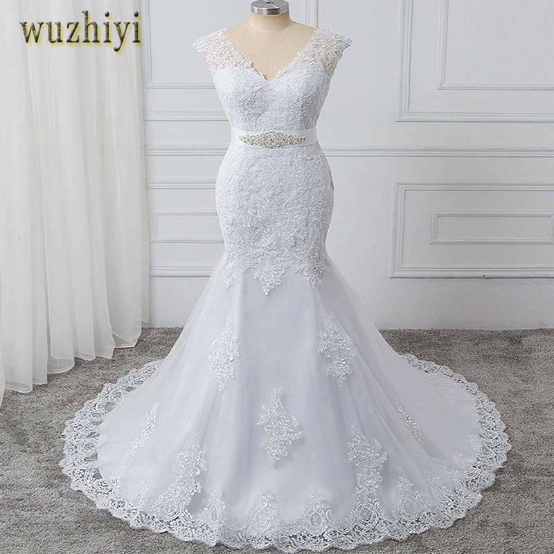 wuzhiyi vestidos de noiva Mermaid wedding dress 2018 long dress Sashes Sexy wedding dresses White Bridal