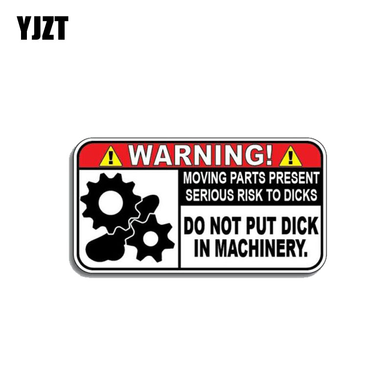 YJZT 10.4CM*5.5CM Funny Warning In Machinery Car Sticker Reflective PVC Decal 12-1172
