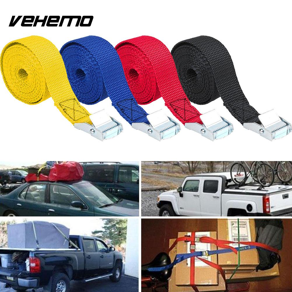 Vehemo 2.5M Car Fixed Strap Tie Luggage Belt Tension Rope With Buckle 4 Color