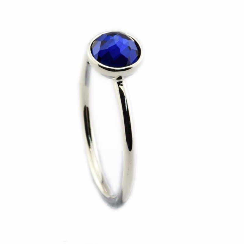 แหวนกันยายนหยดแหวนคริสตัล 925 เงินสเตอร์ลิงเครื่องประดับแหวน anillos bague