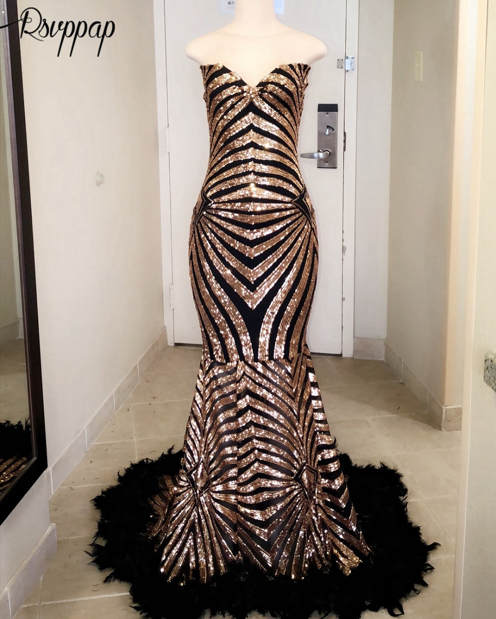 Long   Prom     Dresses   2019 Sparkly Mermaid Sweetheart Gold Sequin African Black Girl Feather   Prom   Formal   Dress