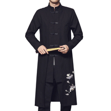 Chinese Retro Style Black men Long Coat Autumn New Single-breasted Embroidery Trench