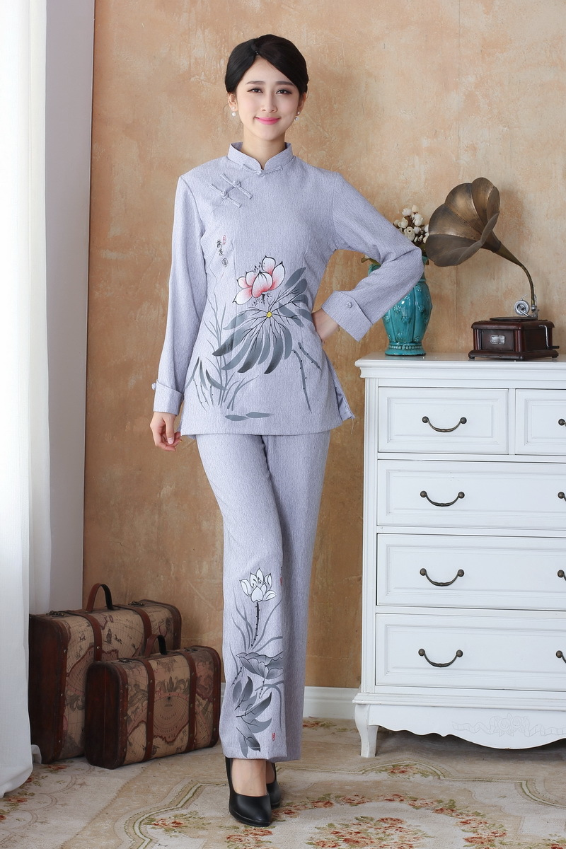 Fashion Light gray Women's clothing Linen Long Sleeve ...