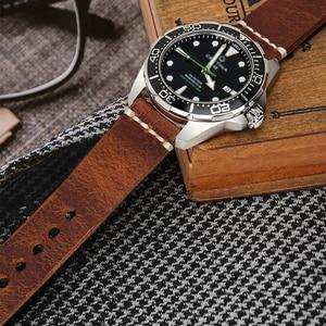 Image 3 - MAIKES Vintage Öl Wachs Leder Uhr Band Uhr Zubehör Armband 20mm 22mm 24mm Blau Armband Armband für Omega MIDO