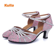 KULLA Girls Women Latin Ballroom Dance Shoes Glitter Closed Toe Ladies  Salsa Tango 117f326e6081