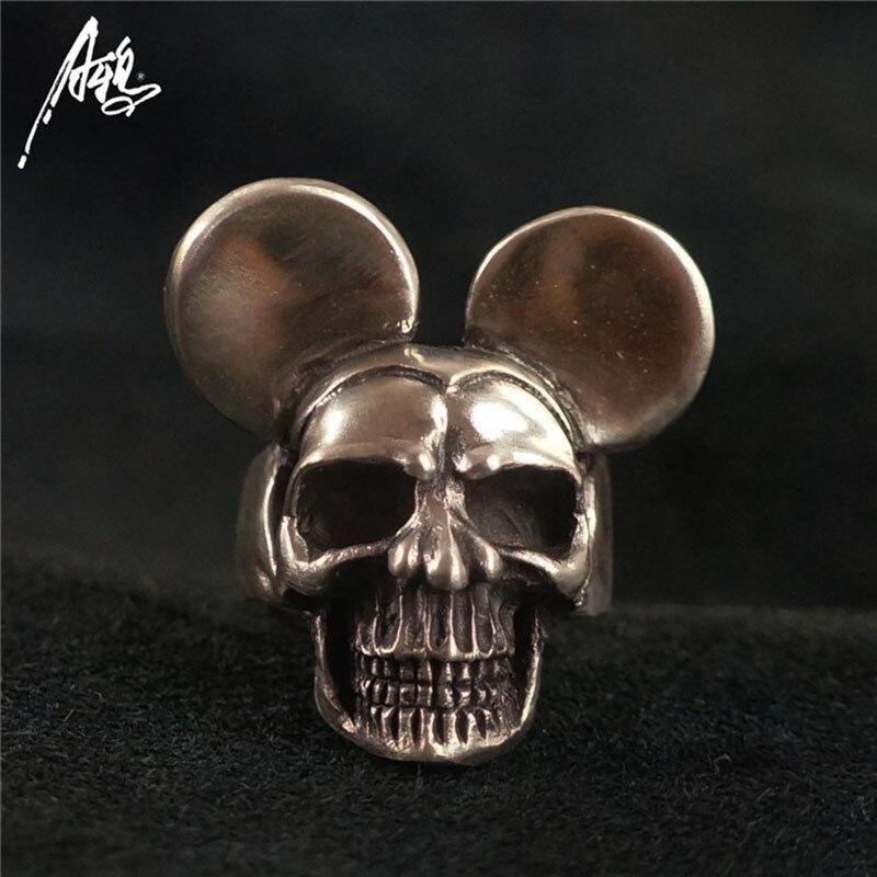 Ручной работы 925 стерлингового серебра череп кольцо с ушками Для мужчин череп Кольца Для женщин панк ювелирные изделия Личность кольцо готи