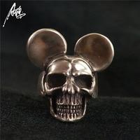 Ручной работы 925 Серебряное кольцо с черепом wih Ear мужские кольца с черепом женские панк ювелирные изделия Индивидуальность кольцо готическ