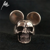 Handmade 925 Sterling Silver Skull Ring wih Ear Men Skull Rings Women's Punk Jewelry Personality Ring Gothic Halloween Cosplay