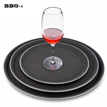 1PC Round Plastic Tray Restaurant Serving Plate Lined Non-Slip Tray Coffee Drinks Tray Fast Food Serve Dishes Bar Tool