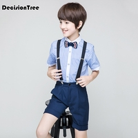 2019 new flower boys wedding overall suits with bowtie formal school performance suits birthday dress bib pants clothes
