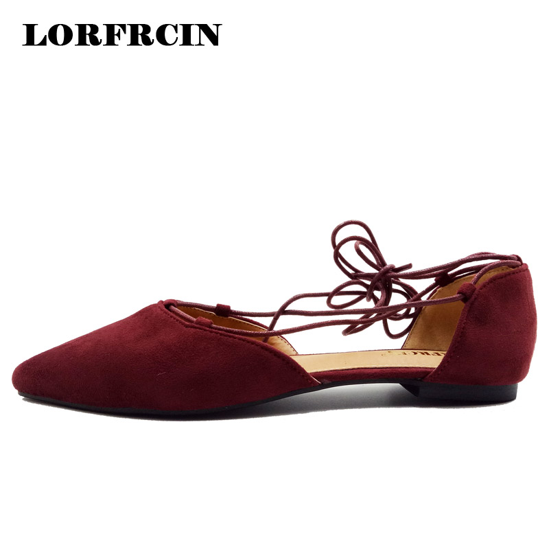 LORFRCIN Shoes Woman Pointed Toe Women Flats Fashion Lace-up Ballerinas Ladies Flat Shoes Plus Size 33-43 Zapatos Mujer 2018 hot sale 2016 new fashion spring women flats black shoes ladies pointed toe slip on flat women s shoes size 33 43