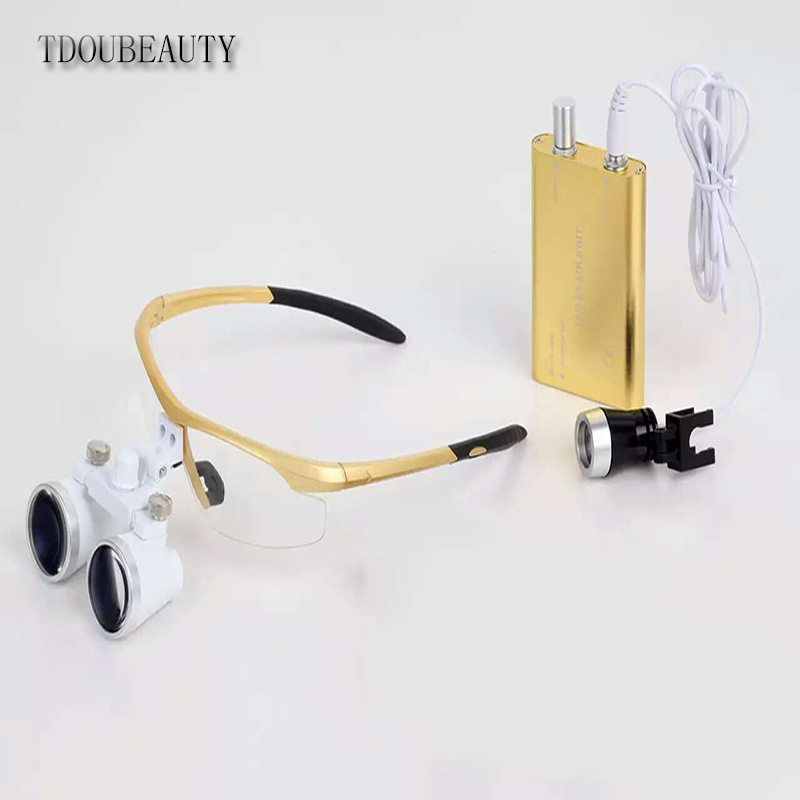 TDOUBEAUTY Portable Dental Binocular Loupes 3.5X 420mm(golden) + LED Head Light Lamp + Free Shipping tdoubeauty 3 5x 420mm dental surgical medical binocular loupes color random led head light lamp free shipping