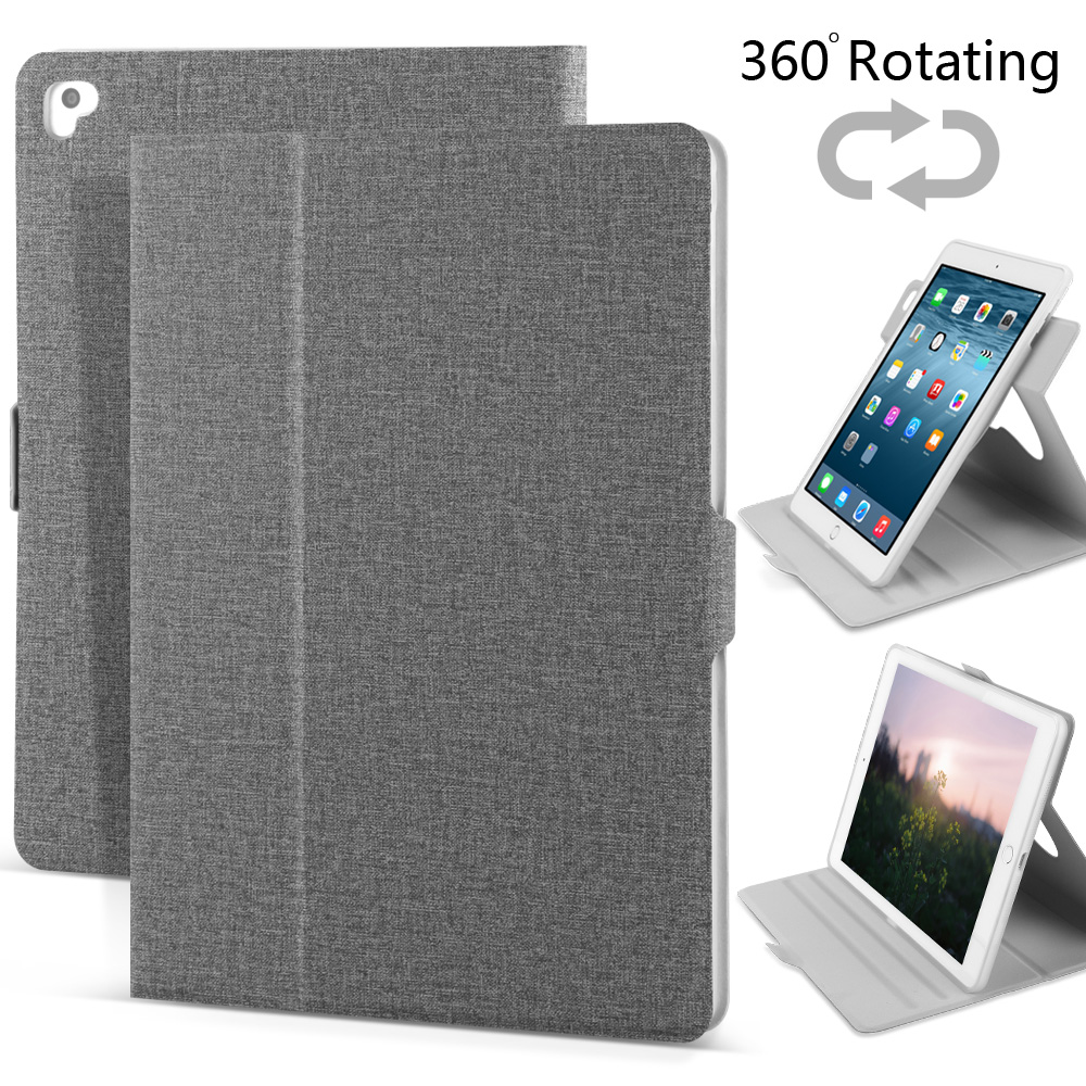 Case for iPad 9.7 New 2017, Air 1 2, Pro 9.7 inch, ZVRUA 360 Rotating stents multiple visual angles Tablet Smart Cover