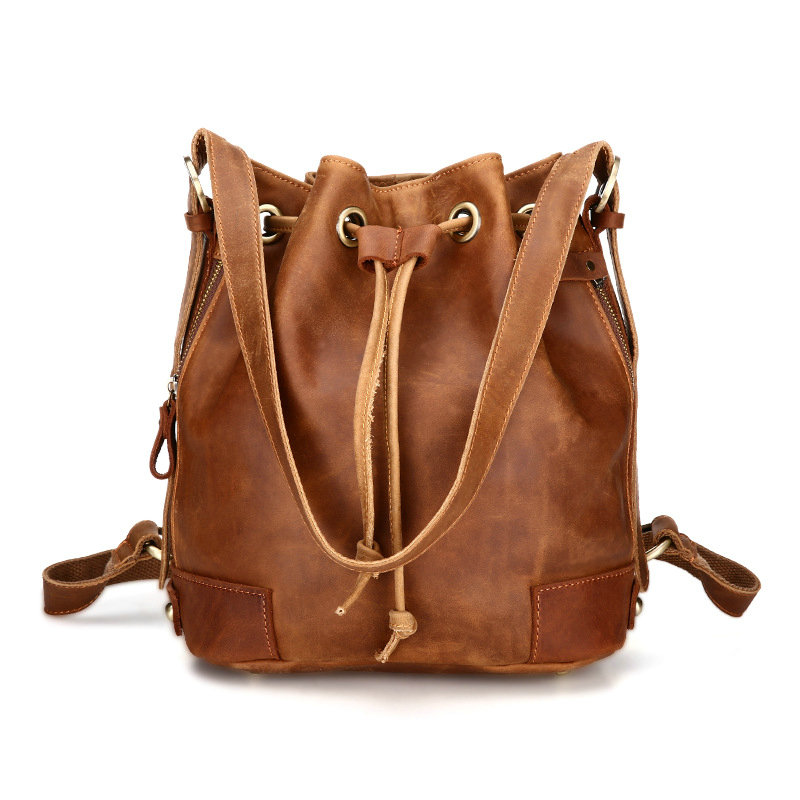 BILLETERA Women Bucket Bag Genuine Leather Fashion Women Shoulder Bag Drawstring Women Handbag Crossbody Messenger bag