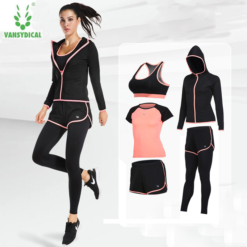 2017 Vansydical Yoga Clothing Women Professional Sportswear Suit Autumn And Winter Running  Sports Shirt Fitness Clothes 5pcs 2017 women yoga sets 3 pieces t shirt bra pants fitness workout clothing women gym sports tops running slim leggings sport suit