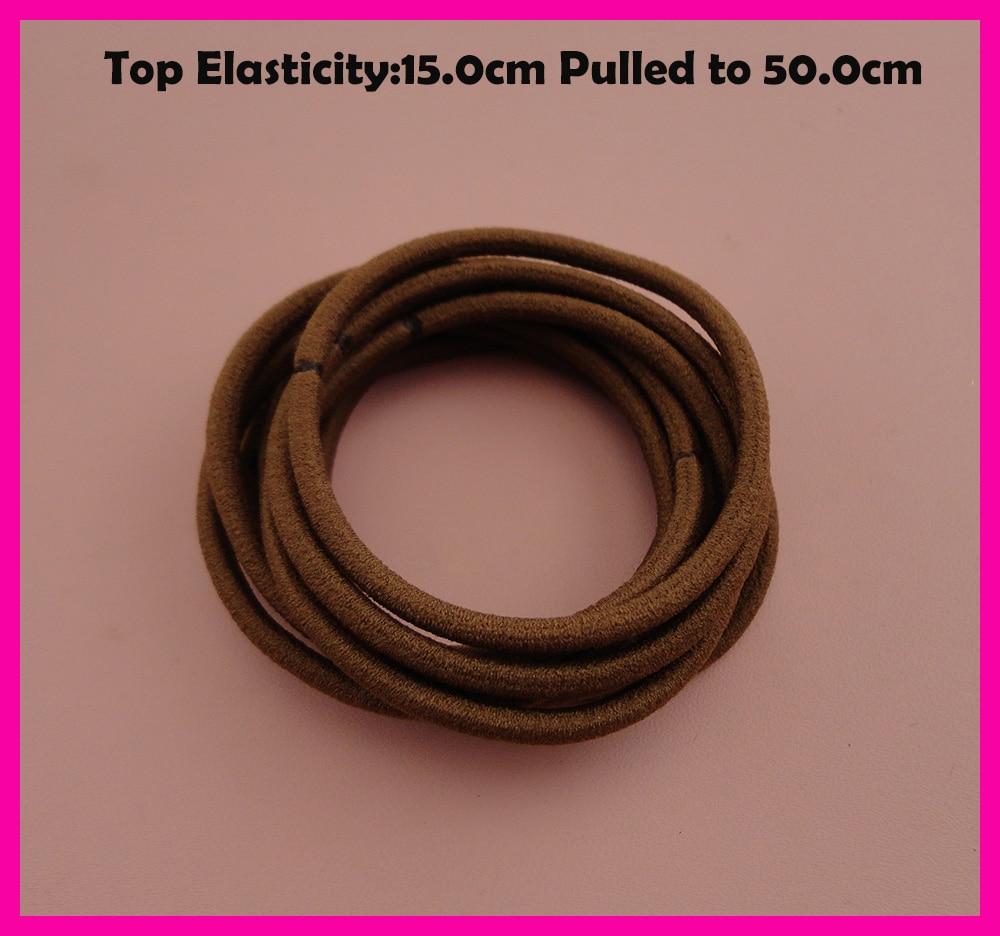 50PCS 3mm Top Elasticity Medium brown Seamless Elastic Ponytail Holders Hair Bands,Elastic Hair Ties,circle length 15.0cm