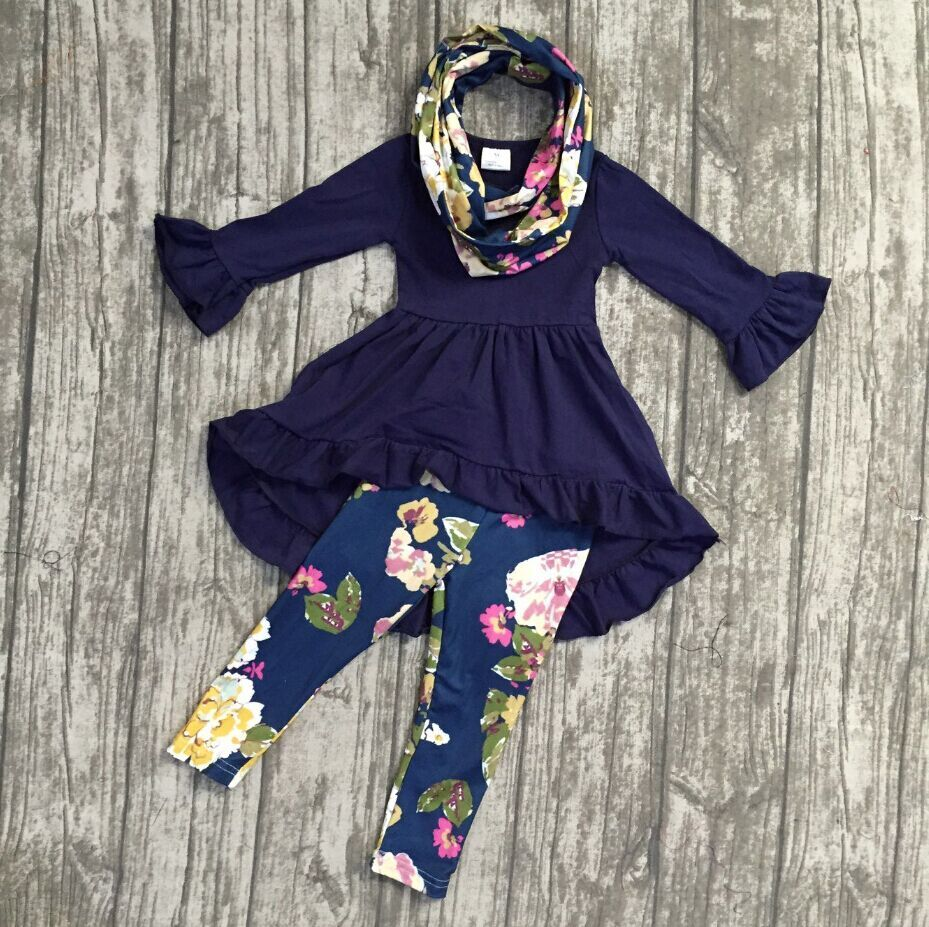 Fall/winter 3 pieces scarf top baby girls outfits pant boutique children clothes purple blue flower floral dress top kids wear zea rtm0911 1 children s panda style super soft autumn winter wear cap scarf set blue