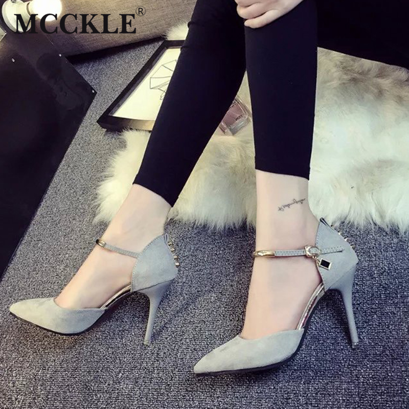 women fashion ankle strap sandals thick high heels black party shoes woman pumps for summer qq302 MCCKLE New Summer Fashion Women Shoes Spring High Heels Women Pumps Ankle Strap Suede Party Shoes Woman Ladies shoes Rivets