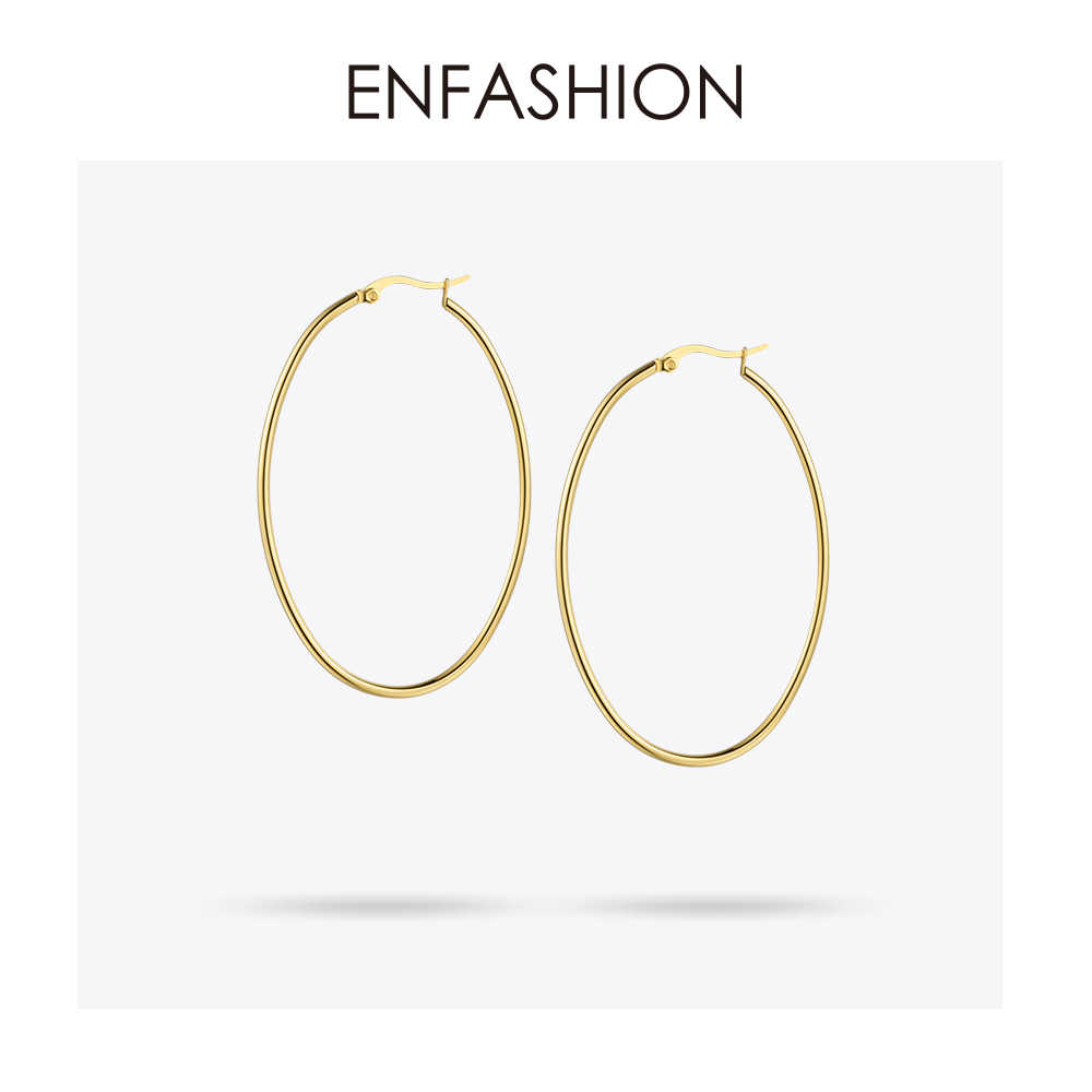 Enfashion Large Hoop Earrings Gold color Thin Line Earings Stainless Steel Circle Earrings For Women Jewelry Wholesale