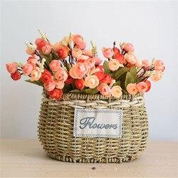 8 Sizes Handmade Durable Iron Frame Green Plant Flower Basket Round Grass Gardening Decorative Flowerpot Planter Vase