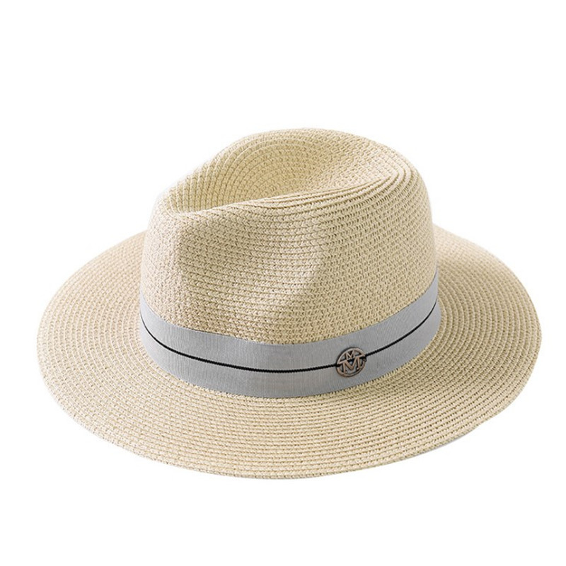 Summer Casual Sun Hats For Women Fashion Letter M Jazz Straw For Man Beach Sun Straw Panama Hat Wholesale And Retail