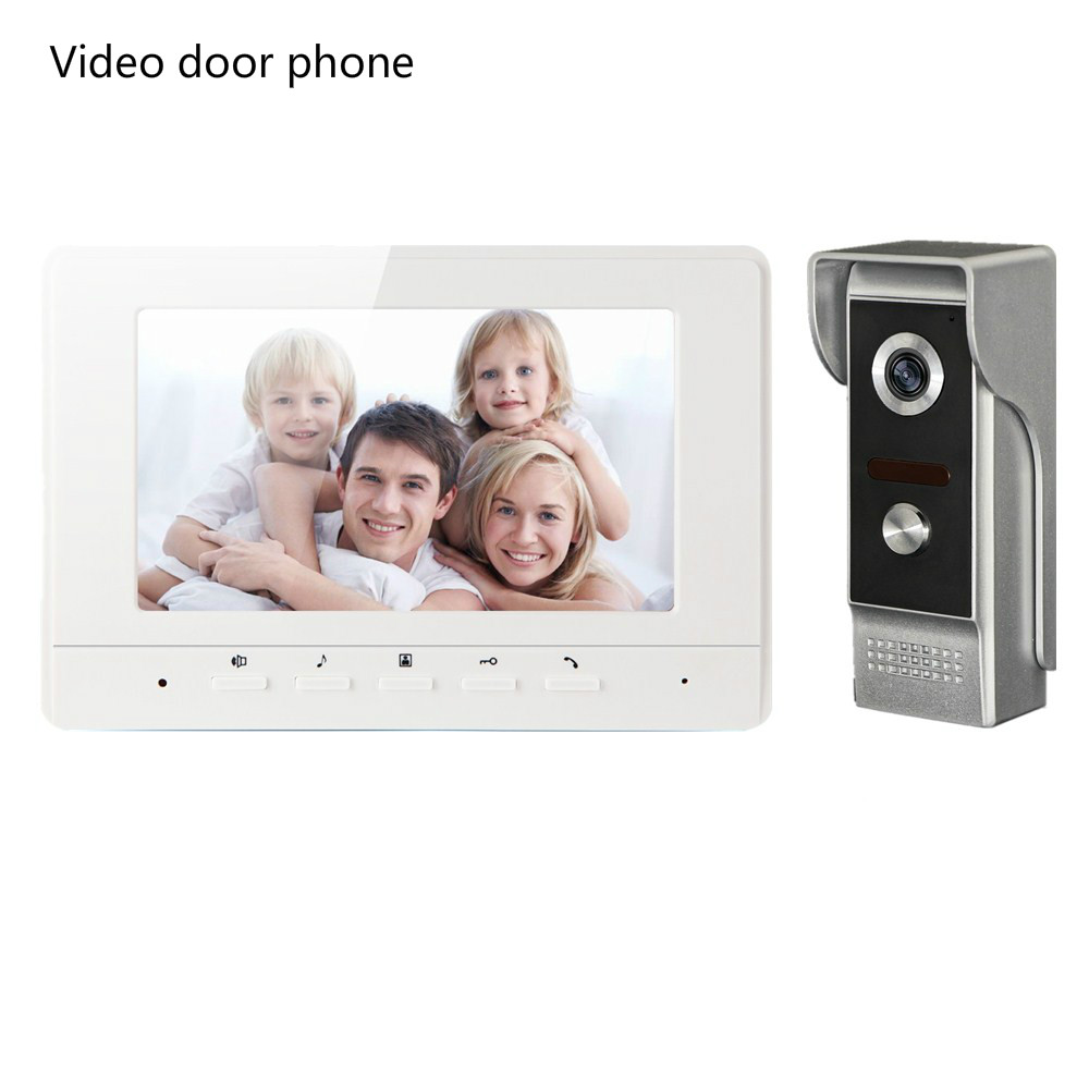 Wired Video Doorphone 7 Inch TFT-LCD  HD Color Screen Monitor system and One Rainoroof Infrared Nifht Vision Camera intercom 7 inch video doorbell tft lcd hd screen wired video doorphone for villa one monitor with one metal outdoor unit night vision