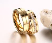 Женские и мужские кольца из нержавеющей стали с фианитом