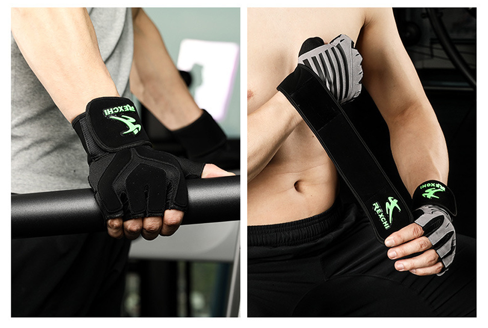Gym Fitness Half Finger Gloves with Wrist Wrap Support Men Women Crossfit Workout Gloves Power Weight Lifting Equipment 18