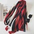 2017 Spring High Quality Soft Cotton Women Long Tassel Retro Lines hit color print wild Scarf Slim Pashmina elegant female Shawl