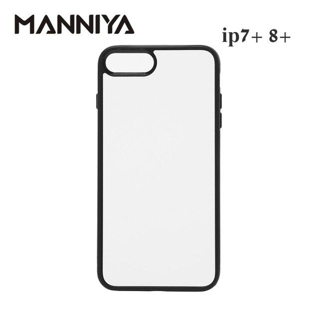 Manniya 2d 승화 빈 고무 tpu + pc 케이스 아이폰 7 플러스 8 플러스 알루미늄 삽입 및 접착제 무료 배송! 50 개/몫