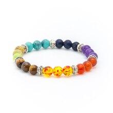Best Selling Fashion Mens Womens 7 Chakra Mixed Stone Healing Pray Mala Yoga Bead Bracelet Jewelry