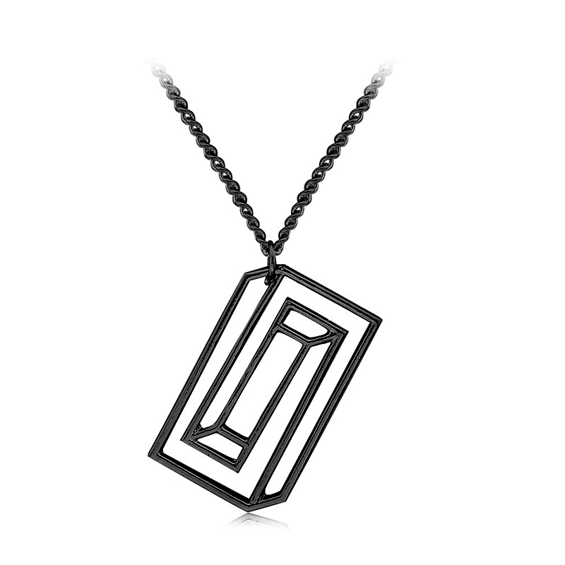 CONFINED SILHOUETTE NECKLACE Chemical Molecule Pendant Necklace Optical Illusion Pieces Designe For Men Women Black Gold Silver signage
