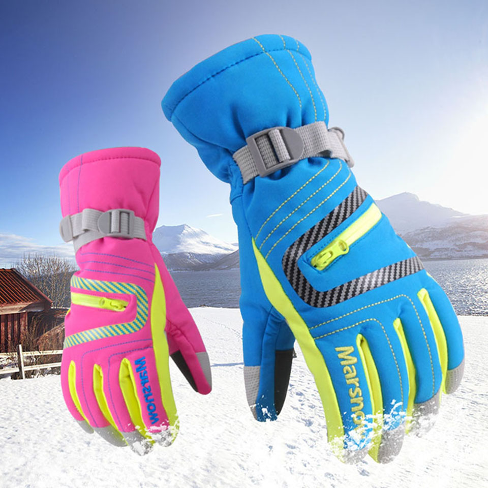 1 Pair Skiing Motorcycle Riding Waterproof Ski Gloves Winter Warm Thick Snow Gloves Snowboard Gloves For Men Women Children цена