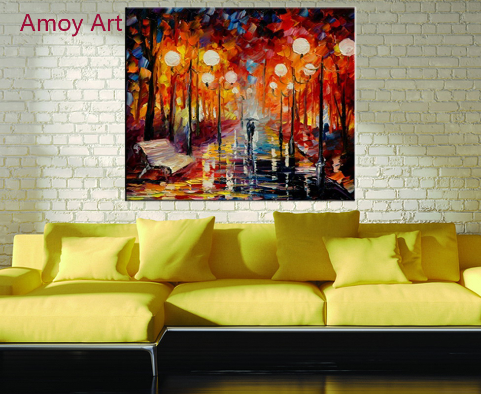 Canvas prints cuadros decorations lovers walking in the - Landscape paintings for living room ...