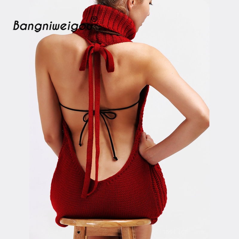 7 Colors New Turtleneck Sleeveless Long Virgin Killer Sweater Japanese Knitted Sexy Backless Sweater Women Slim Pullovers