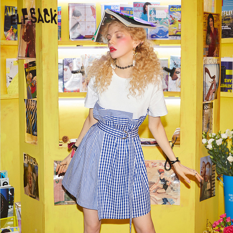 ELF SACK Cotton Patchwork Women Summer Dress Fashion Vintage Plaid Woman Dresses Sweet White Party Dress