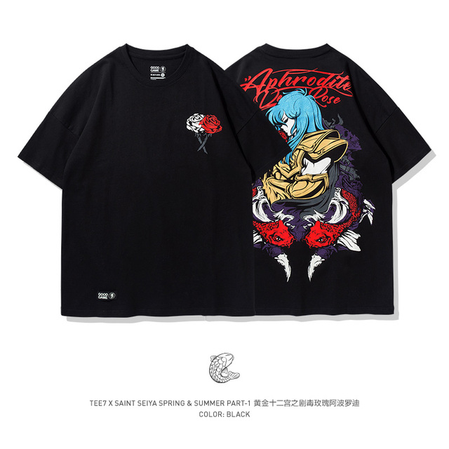 TEE7 Mens Plus Size T Shirt Classic anime Gold Saint Seiya Apollo the Pisces High Quality Boy girl Black Summer tee Shirt
