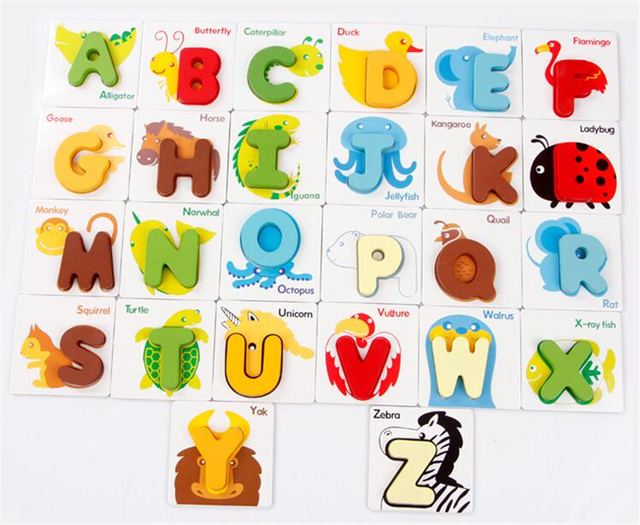 Early Education Colorful Alphabet Letters and Animal Cards