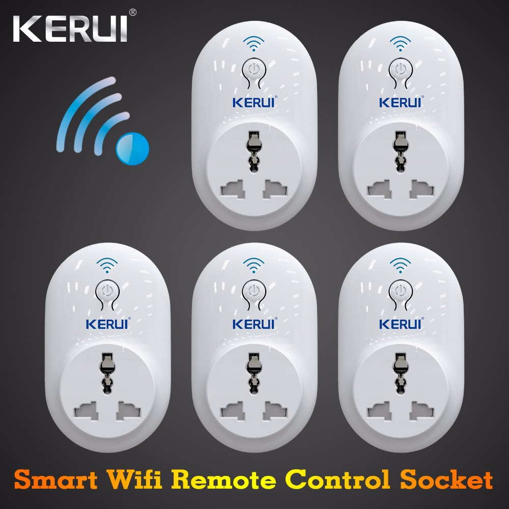 5 pcs S72 KERUI Smart Socket EU US UK AU plug WiFi IOS Android APP Control Intelligent for Home Security Alarm System kerui smart socket eu us uk au standard wifi ios android app control intelligent for home security alarm system outlet switch