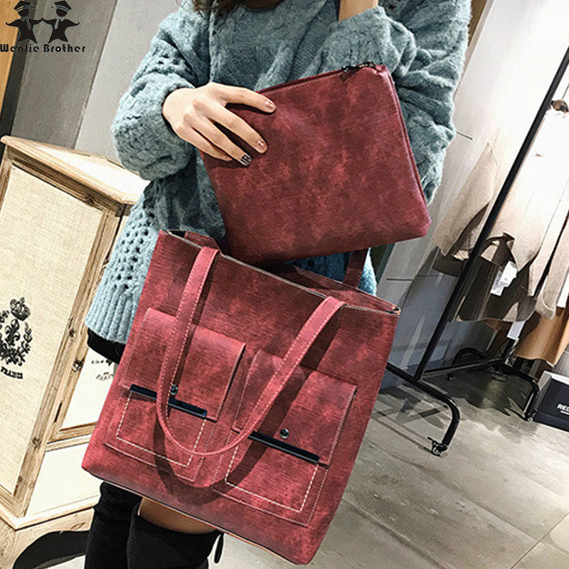 wenjie brother new simple fashion women handbag PU leather ladys bag larger crossbody bags female casual women shoulder bag tote цена
