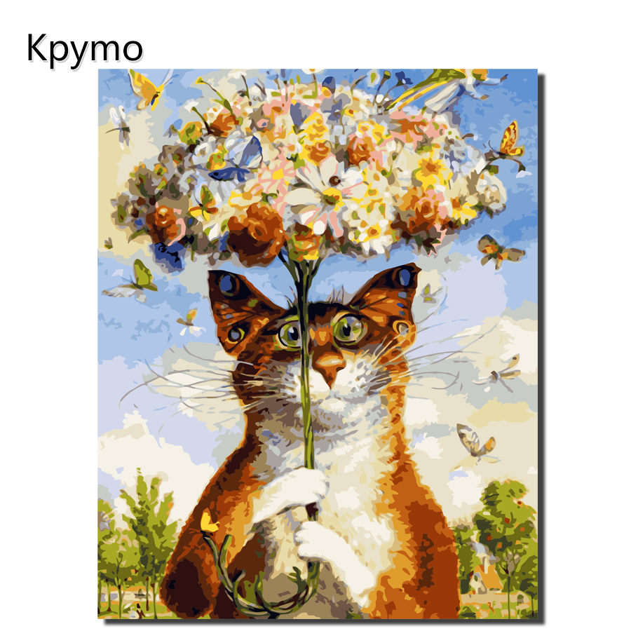 Kpymo Painting By Numbers Yellow Cat FlowersOn Canvas Unique Gifts Home Decoration Painting For Living Room Wall Art Home Decor