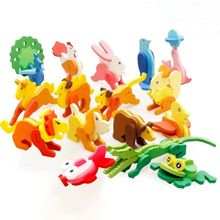 Kids 3D Puzzle Wooden Toy Cartoon Animals Crocodile Dog Lion Rabbit Penguin Jigsaw Puzzles Educational Toys For Children Gifts(China)