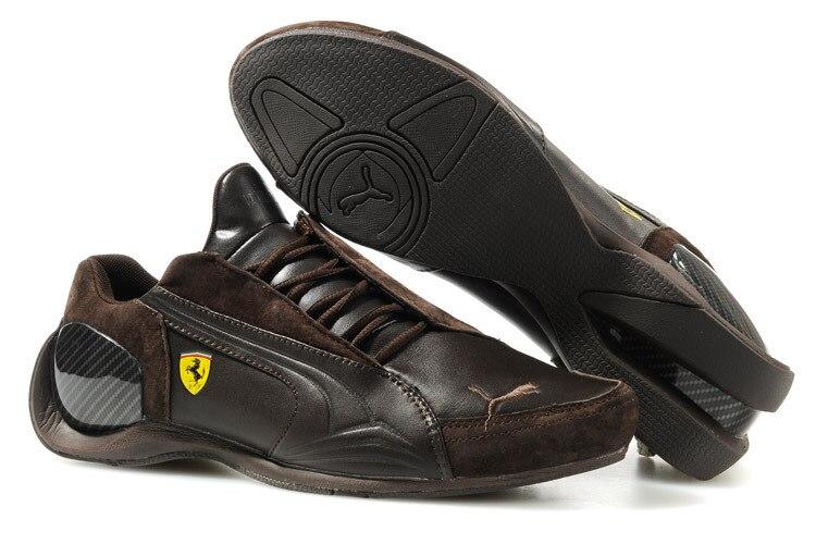 2018 zapatillas de cuero transpirables de Puma para Hombre Zapatos Ferr-ari rojo/Blanco/Negro/marrón bádminton Size39-45