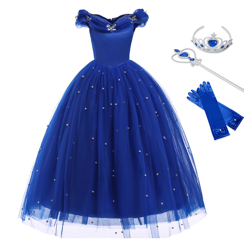Princess Girls Costume Dress Birthday-Clothes Blue-Gown Fairy-Tales Cosplay Deluxe Halloween
