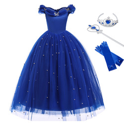 Cinderella Princess Girls Dress Fairy Tales Deluxe Cosplay Costume Sleeveless Blue Gown Kids Party Halloween Birthday Clothes